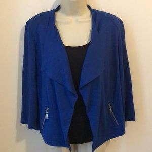 Chico's Blue Draped Open Front Zippered Pockets